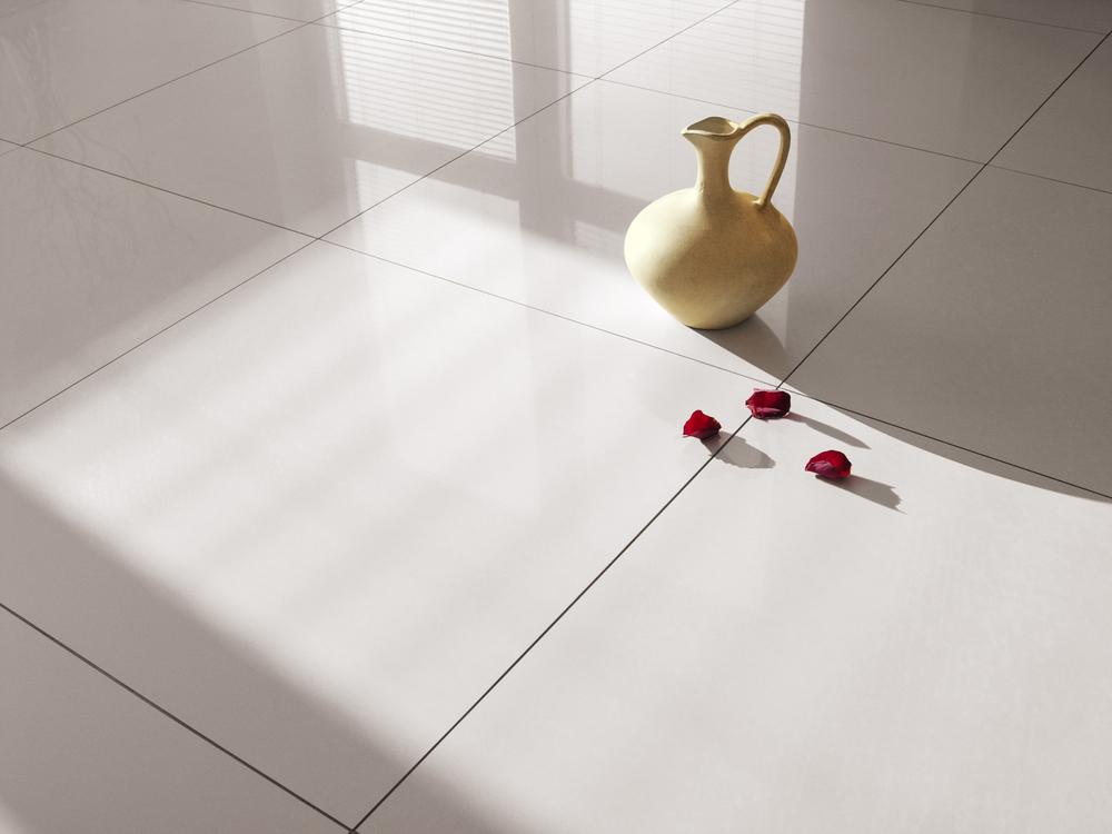 White ceramic floor under natural sunlight