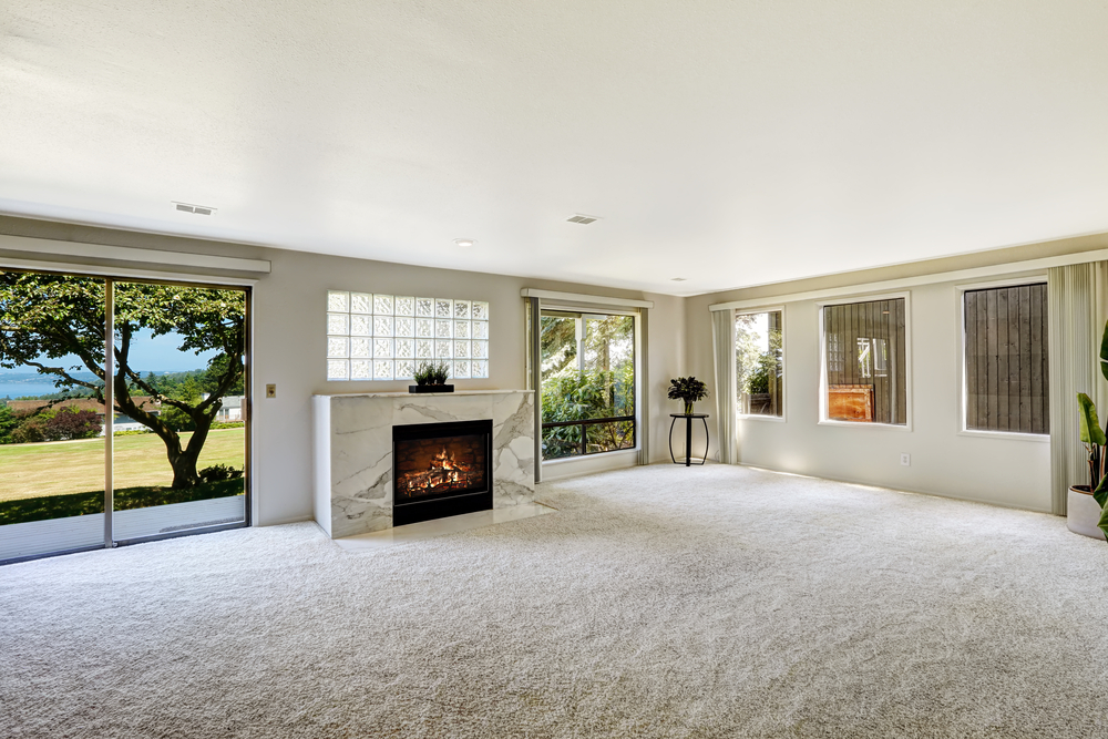 Beautiful living room with elegant off-white carpet flooring