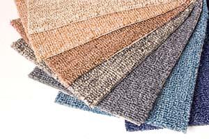 Carpet swatches on floor