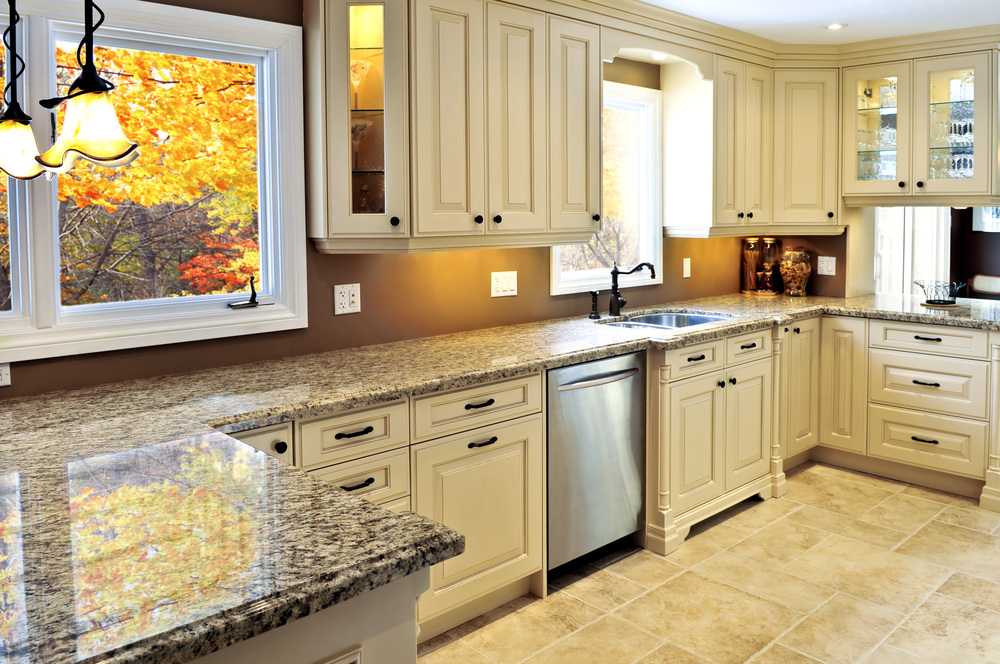 Interior of a kitchen with a ceramic tile floor