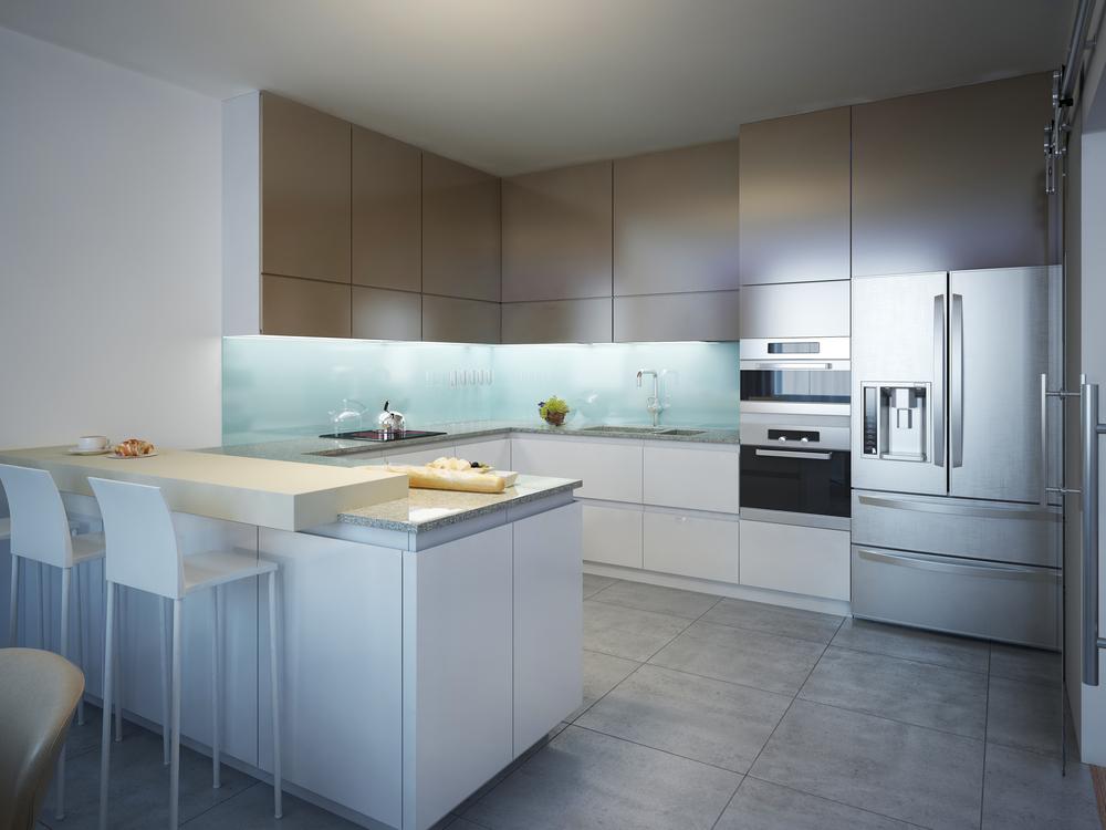 Modern kitchen with a concrete flooring