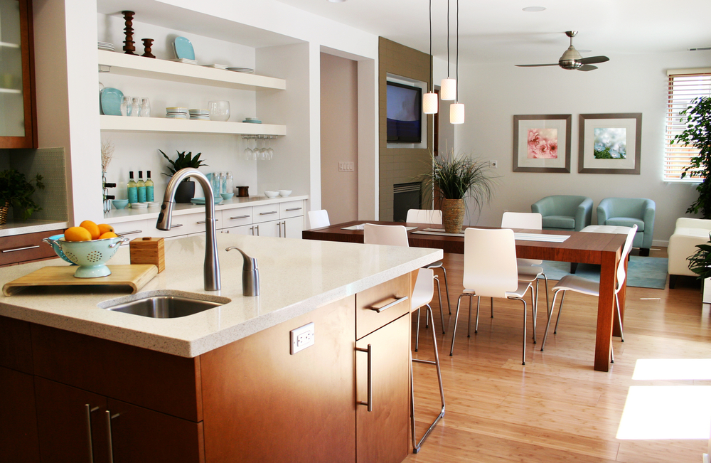 Modern kitchen with bamboo flooring