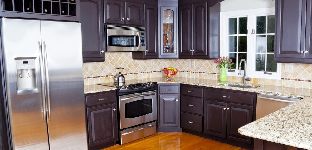 Dark kitchen cabinets in kitchen